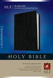 Slimline Center Column Reference Bible NLT (Red Letter, Bonded Leather, Black)