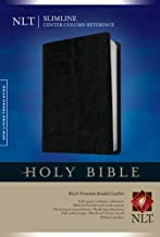 Slimline Center Column Reference Bible NLT (Red Letter, Bonded Leather, Black)