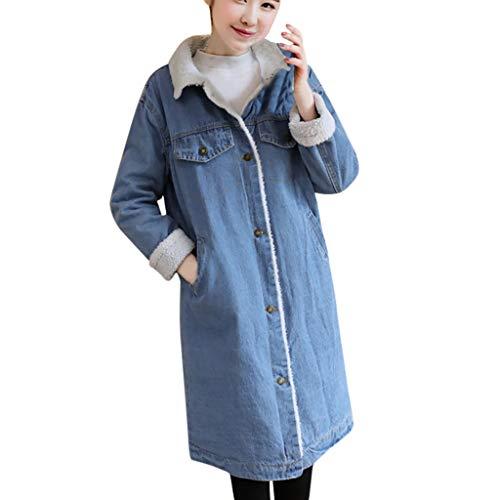 Lowest Prices! Leadmall Women Fleece Denim Jacket | Ladies Warm Faux Sherpa Lined Button Up Lapel Kn...