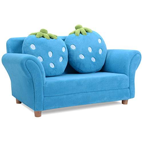 GOPLUS Kindersessel Kindersofa Kindercouch Sofa Doppelsofa Minisofa Kindermöbel zum Sitzen und Spielen, Farbwahl 90 x 54,8 x 48 cm (blau)
