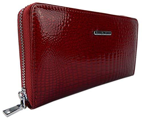 Damen-Geldbörse Portemonnaie Geldbeutel Brieftasche aus echtem und hochwertigem Leder in eleganter Hochglanz Kroko-Optik (Rot)