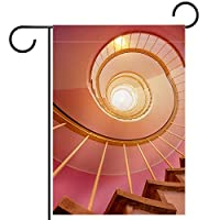 ウェルカムガーデンフラッグ(28x40inch)両面垂直ヤード屋外装飾,回転階段