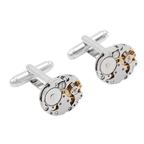 SCDZS Gemelli del Movimento dell'orologio Caldo per i Gemelli imbottibili del Braccialetto del Braccialetto del gemello a Steampunk dell'Acciaio Inossidabile per i Gemelli degli Uomini