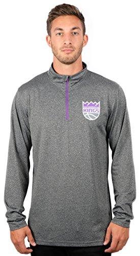 Ultra Game NBA Sacramento Kings Mens Quarter-Zip Pullover Active Shirt, Heather Charcoal18, X-Large