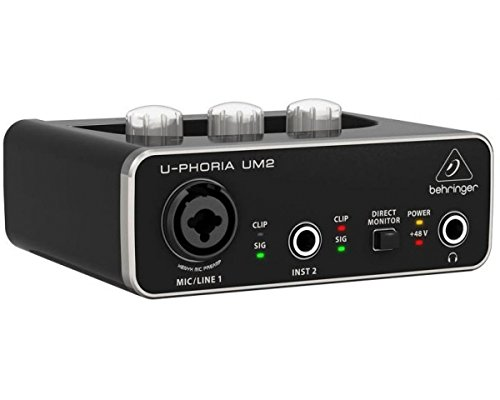 BEHRINGER UM2 U-PHORIA Interfaz 2 x 2 USB tarjeta de audio 2 en 2 salida preamplificador micrófono Software PC Mac EX-DEMO
