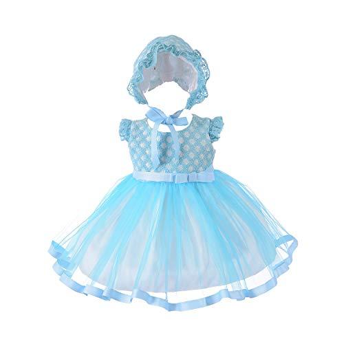 Cinda Robe de soirée bébé Fille avec Bonnet Bleu 0-3 Mois