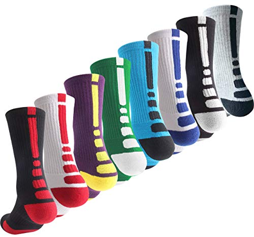 Boys Sock Basketball Soccer Hiking Ski Athletic Outdoor Sports Thick Calf High Elite Crew Sock 8 Pack B, Size M