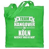 Shirtracer JGA Junggesellenabschied - Team Hangover in Köln - Unisize - Hellgrün - WM101 - Stoffbeutel aus Baumwolle Jutebeutel lange Henkel