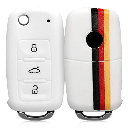 kwmobile Funda Compatible con VW Skoda Seat Llave de Coche de 3 Botones - Carcasa Protectora Suave de Silicona - Bandera Alemana