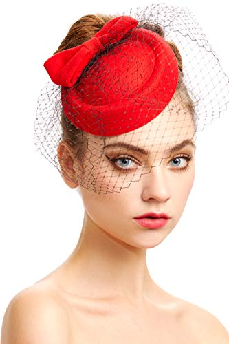 Coucoland Tocado para mujer con lazo de malla para boda, novia, elegante, tocado inglés, cóctel, té, fiesta, disfraz, accesorios rojo Talla única