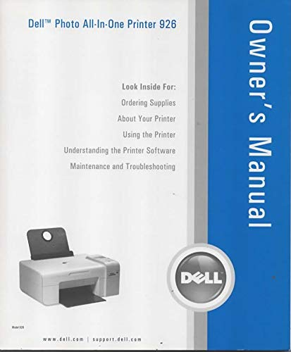 Owner's Manual/Instruction Guide for Dell All-in-One 926 Printer/Scanner/Copier/Fax