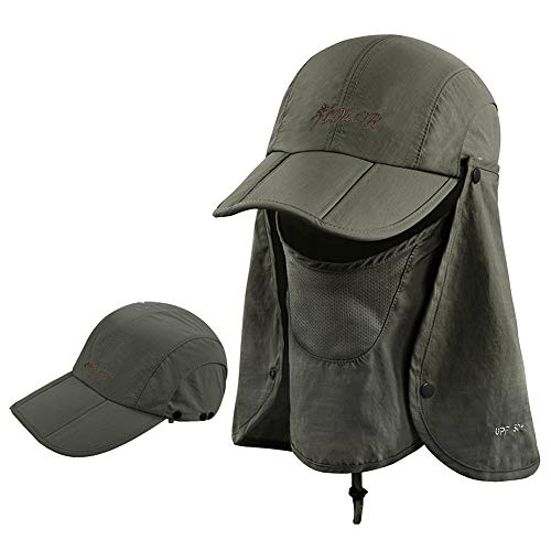 icolor Sun Cap Fishing Hats Summer Sun Protection with UPF 50+ Neck & Face Flap Cover