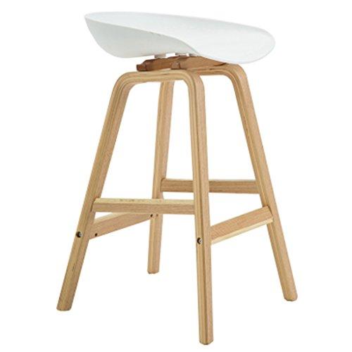 Tabouret haut en bois massif européen chaise chaise de café chaise à manger maison 49 * 46 * 76cm (Color : Blanc)