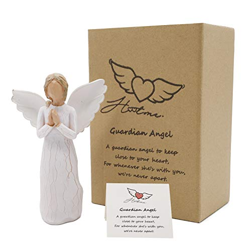Guardian Angel Figurine, Angel of Prayer - Hand Carved Praying Angel Sculpture, Encouragement Present, Home Decoration Gift to Show Love, Sympathy, Gratitude, Bereavement, Friendship or Prayer