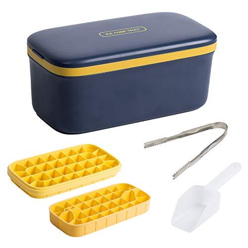 HOTUCG Ice Cube Tray Silikon, Eiswürfelform Eisbox mit Deckel, Doppelschicht Silikon Eiswuerfel Form Kunststoff Eiswürfelbox, Ice Cube Tray mit EiswürfelSchaufel und Deckel,LFGB Zertifiziert, 64 Fach