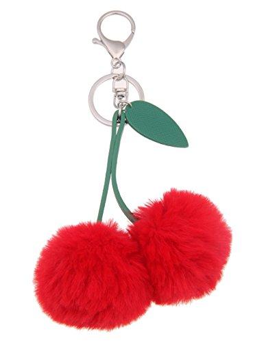 Leslii Damen Schlüssel-Taschenanhänger Kirsche Obst Früchte Kinder Modeschmuck Rot Grün Kunstfell Lederimitat 17cm 290116577