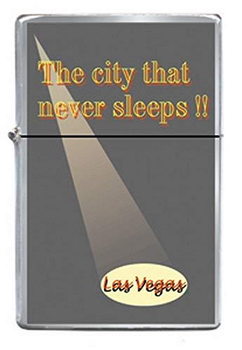 C&D Visionary Las Vegas City Never Sleeps Spotlight Refillable Metal Lighter ZP-0339