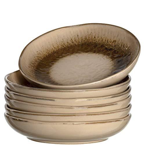 Leonardo Teller Matera 6-er Set, 20,7 cm, 6 Tiefe Keramik Teller, spülmaschinengeeignet, mit Glasur, beige, 018536