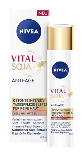 NIVEA  Vital Soja Anti-Age Getönte Intensiv Tagespflege im 1er Pack (1 x 40 ml), Anti Falten...