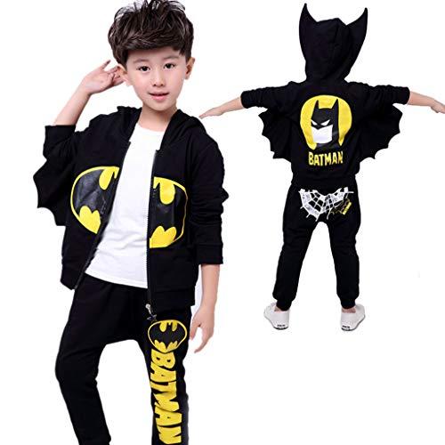 WQLESO Jungen Batman Hoodie Cosplay Kostüm Reißverschluss Pullover Trainingsanzug Mantel Hose Geschenke für Kinder,Black-130cm