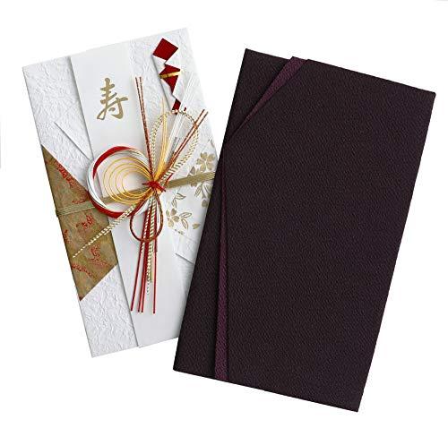 珠音 ふくさ 祝儀袋 セット 慶弔 両用 紫 黒 金封 ちりめん 袱紗 男性 女性 結婚式 香典 日本製 (紫+赤祝儀袋)