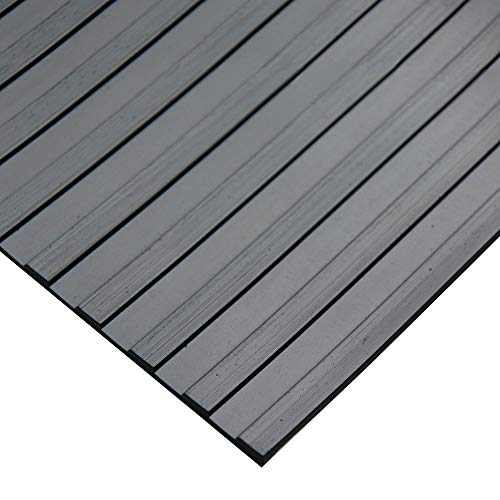 """Rubber-Cal 03_167_W_WR_20 Wide Rib Corrugated Rubber Floor Mat, 1/8"""" Thick x 3' x 20' Roll, Black"""