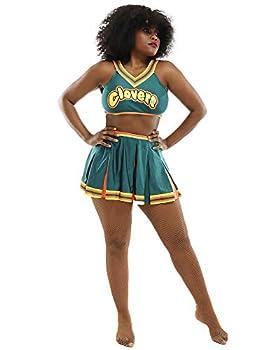 Coskidz Women s Cheerleader Cosplay Costume Top Skirt  L/XL Green