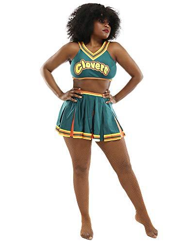 Coskidz Women's Cheerleader Cosplay Costume Top Skirt (L/XL, Green)
