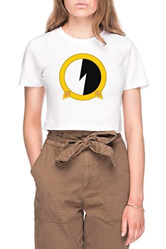 Protoshirtexe Damen Bauchfreies Crop T-Shirt Tee Weiß Women's White Crop T-Shirt