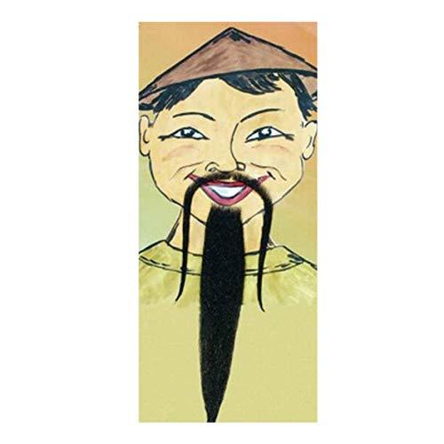 Chinesenbart de Luxe, schwarz Fasching