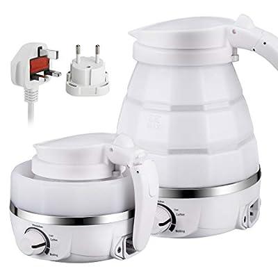 Bouilloire électrique pliable améliorée de catégorie comestible de voyage de silicone de cuisine, protection à ébullition portative avec double tension et cordon d'alimentation séparable,0.6L 110-220V EU Plug