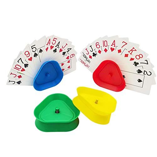 Jatour Spielkartenhalter 4pcs Kartenspiele Kartenhalter Kind für Behinderte, Kartenständer Spielkartenständer Karten Spielen ohne Hände Kinder Dreieck Spielkarten Halter