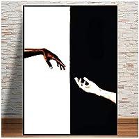 大きいサイズ抽象的な黒と白のハンドインハンドアートポスターとプリント壁アート写真のキャンバス絵画家の装飾リビングルーム30x40cm(12x16in)
