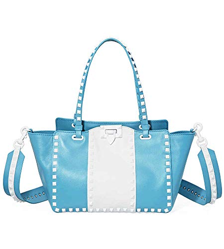 Valentino Rockstud Small Leather Tote- Azure