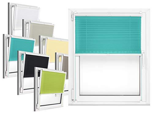 npluseins Plissee - vormontiert und mit Klemmfixierung am Fensterahmen - kinderleichte 3-Step Montage, ca. 40 x 130 cm, türkis