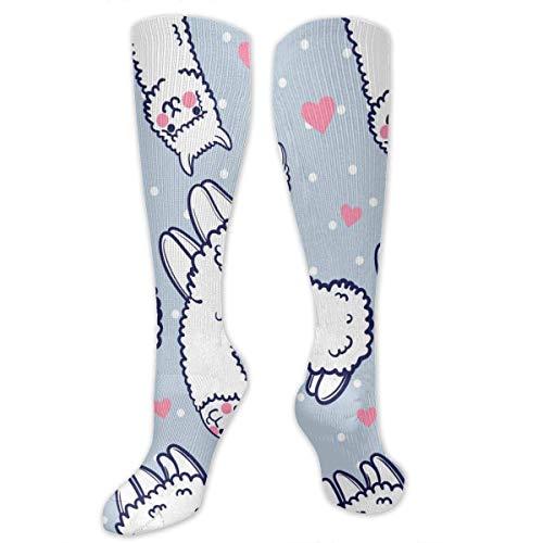 NA Heren & Vrouwen Casual Knie High Tube Sokken Mid-Calf Sokken Kostuum Cosplay Sokken Meisjes Novelty Sokken, Leuke Alpacas en Hartjes Patroon
