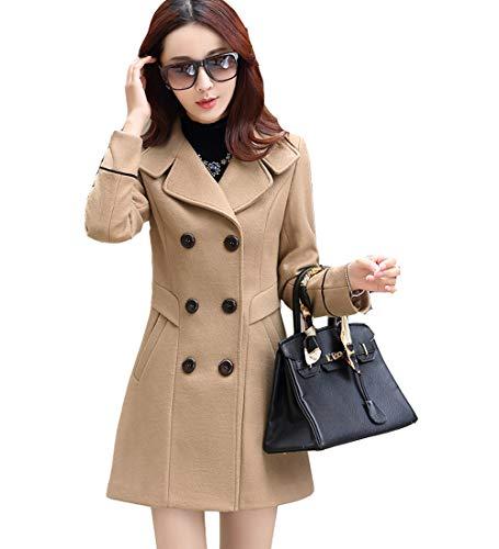 S&S-women Sweet Heart Solid Splicing Lapel Double Breasted Side Pocket Wool Pea Coat (Large, Khaki)