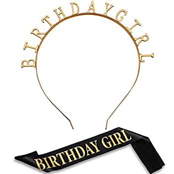 Zonon Birthday Headpiece Girl Tiara Headband Birthday Satin Sash for Party Decorations Supplies  Gold