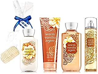 Bath Body Works Warm Vanilla Sugar Gift Set - Body Lotion - Body Cream - Fragrance Mist Shower Gel Sisal Sponge