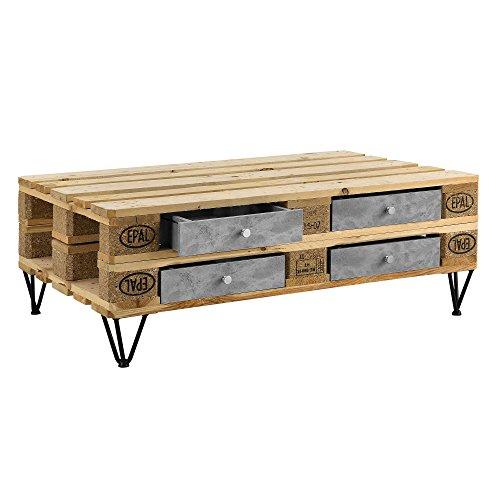[en.casa] 4er Set Schubladen für Europaletten in Beton-Optik Perfekt Integrierbar mit Führungsschienen und Befestigung Palettenmöbel