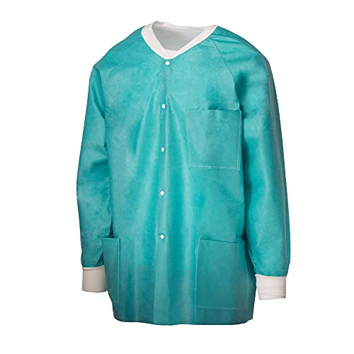 Tronex Green Disposable Lab Jackets, Unisex Hip-Length Disposable Jackets with Long Sleeves (10, Large)