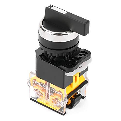 Teror Interruptor Giratorio momentáneo, selector de reinicio automático de 3 Posiciones de 22 mm Interruptor Giratorio momentáneo Mango Largo LA38-20BX33