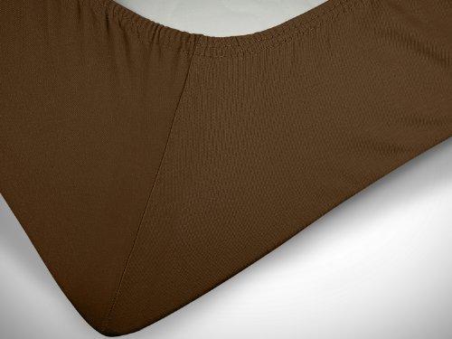 npluseins klassisches Jersey Spannbetttuch – erhältlich in 34 modernen Farben und 6 verschiedenen Größen – 100% Baumwolle, 70 x 140 cm, schokobraun - 6