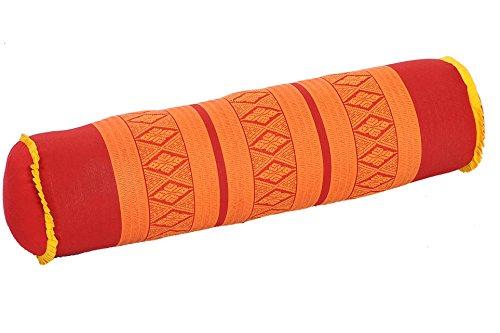 Handelsturm Thaikissen Nackenrolle 50x13 mit Füllung aus Kapok Yoga Bolster Yogakissen Rolle Feste Kissenrolle (Thaimuster rot-orange)