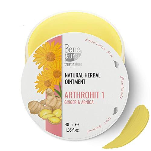 BenePura ArthroHit 1 - Natürliche Kräutersalbe 40 ml - Ingwer & Arnika - Starkes Antioxidationsmittel - Wirkt günstig auf Ihre Gelenke nach dem Sport -Konservierungsmittelfrei, Handgefertigt in der EU