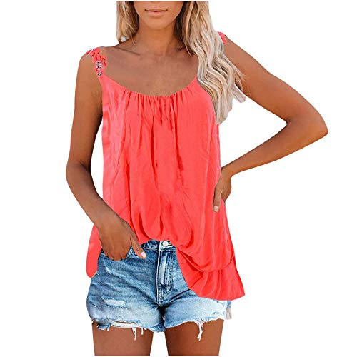 Women Tank Tops Sexy Lace Sling Vest Round Neck Solid Color Camisole Summer Sleeveless Comfy T Shirts Red