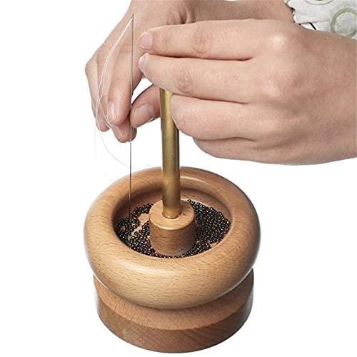 Hilandero de cuentas de madera para hacer joyas, kit de hilandero de cuentas con 2 agujas curvas, cuerda de cuentas giratorias, herramienta de manualidades con soporte de cuentas