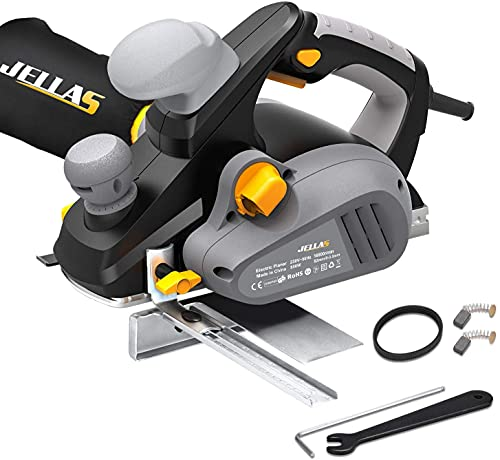 Electric Hand Planer, Jellas Planer with 82mm Width and 3mm Depth, Rebating, 16500rpm 240V, Dust Outlet Conversion System, Parallel Fence Bracket, Woodworking Tool, EP01-SD