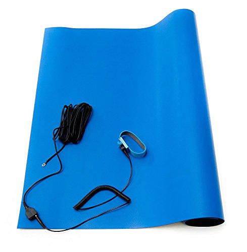 Alfombra de soldadura antiestática, juego de alfombrillas de goma de alta temperatura ESD con correa de mano y cordón de tierra, 76,5 cm x 47 cm x 0,2 cm, color azul