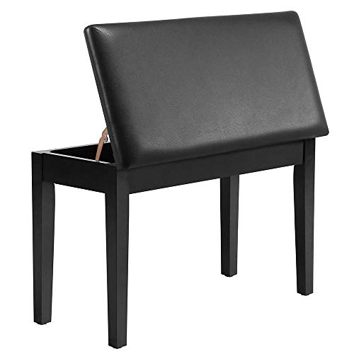 Buy Yaheetech Duet Wooden Piano Bench Stool with Padded Leather Cushion Deluxe Comfort and Storage f...